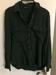 Stradivarius shirt dark green size S