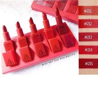 💌$6 Mailed for 1 mini lipstick!✨ 3CE Red Recipe Lip Color Mini Kit