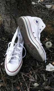White Converse high tops 8 1/2