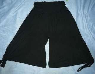 Square cotton black pants with side ties