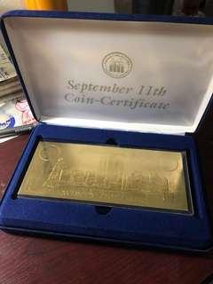 22k gold -World trade center tragedy- 20$ bill