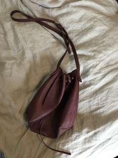 Maroon bucket bag