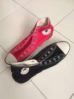 Black & Red Auth Converse Shoes