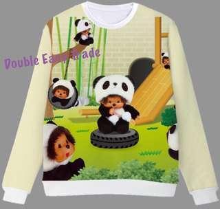 Monchhichi S-XXL 熊貓🐼 系列印刷「長䄂」抓毛衛衣