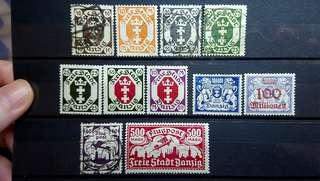 Danzig State Stamps 1921 to 1923 11 pcs many mint!