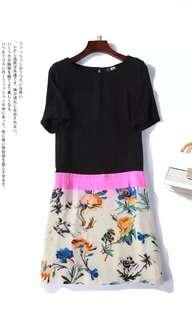 Floral print 💯% silk dress