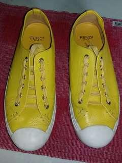FENDI yellow leather lace up sneakers