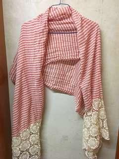 紅白間Lace長頸巾 披肩
