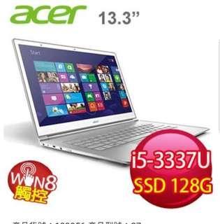 Acer 宏碁超薄型筆電 S7 391 ,白色玻璃,觸控螢幕
