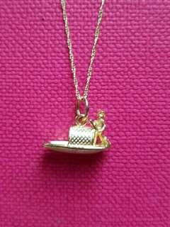 Set  of 14K585 Yellow Gold❤ Sampan❤Pendant With Gold NecKlace
