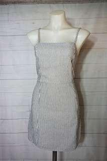 Monochrome Stripe Linen Square Neck Dress Size L