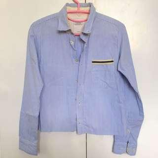 Cropped blue stripes long sleeves