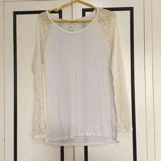 F21 White Lace Longsleeves