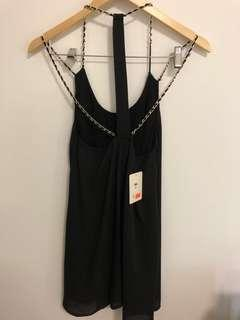 Black flowy gold chain strap dress size 8 WITH FREE BELT ADDED IN