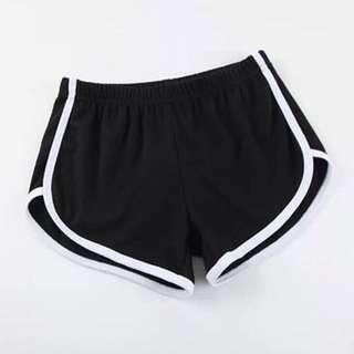 black outline runner shorts
