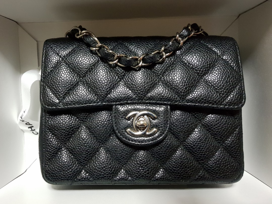 750bc4e96c930 100% AUTH  Chanel Square Mini Black Caviar with SHW Classic Flap bag ...