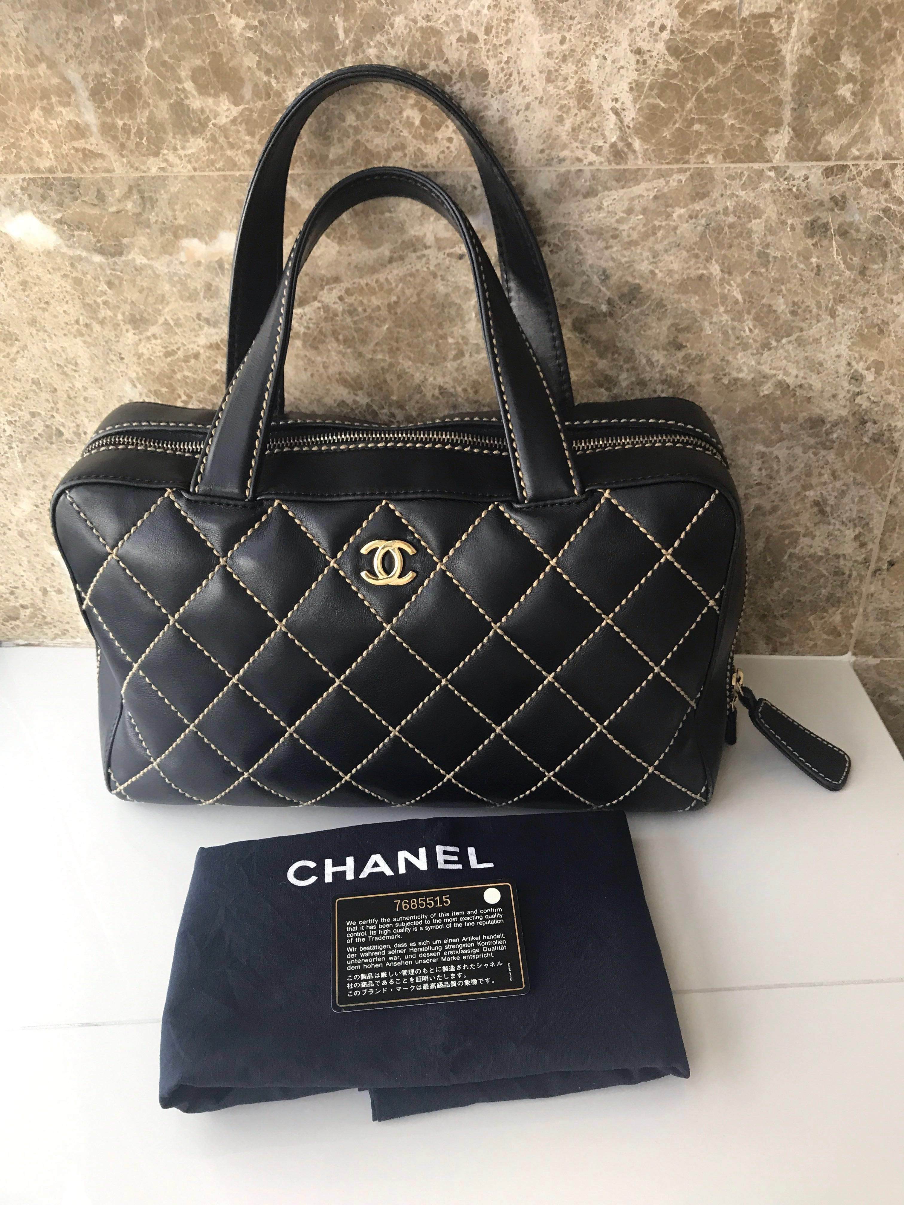 51b212435 100% Authentic Chanel Black Wild Stitch Surpique Tote, Luxury, Bags &  Wallets, Handbags on Carousell