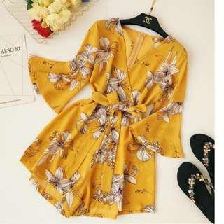 BN Yellow Floral Romper