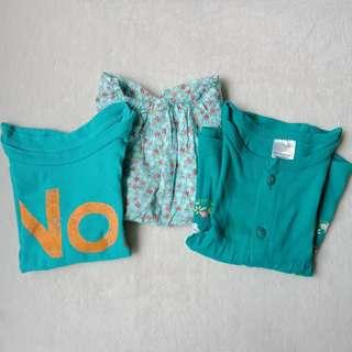 Set of Green Clothes for Baby Girl, 9-12 months