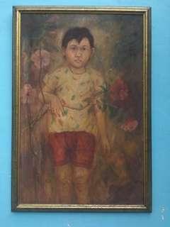 Lukisan seorang anak perempuan dan bunga, tahun 1990