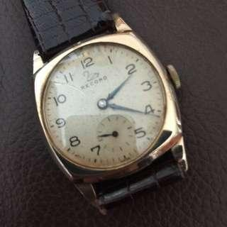 (Christmas Sales!) RECORD 1940's 9k SOLID GOLD Vintage Mechanical Winding Wrist Watch