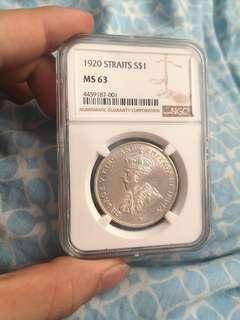 1920 STRAITS SETTLEMENT 1 DOLLAR COIN NGC MS 63