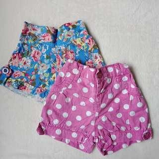 Set of 2 Shorts for Baby Girl, 6-12 months