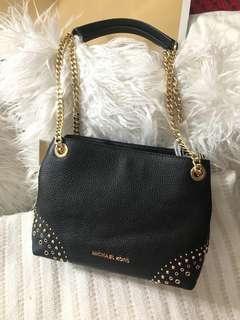 Michael Kors Jet Set Black Leather MD Chain Messenger Bag 35f8gttm6l