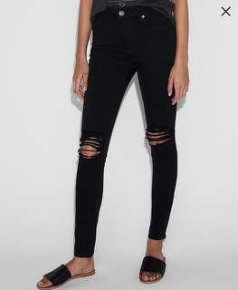 Express Black Ripped Knee Jeans (Sz. 4s)