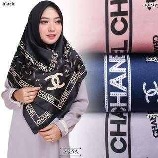 Hijab Segi empat | Chanel Square | Panel Maxmara Royal Platinum - Black