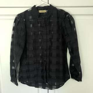 Leonard St. Black Sheer Check shirt - 8