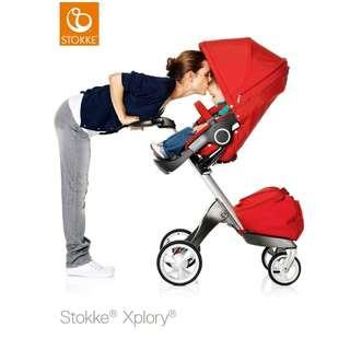 Stokke V4 Red (Branded Baby Stroller), come with many Original Accessories