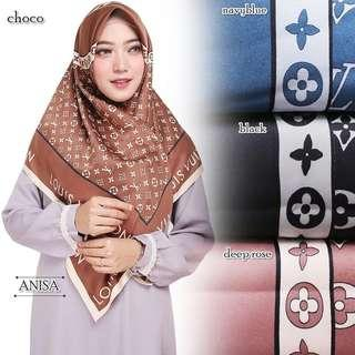 Hijab Segi Empat | Motif LV Square | Panel Maxmara Royal Platinum - Deep Rose