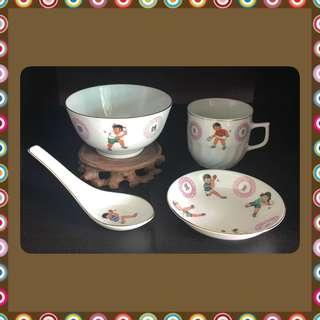 Vintage Pingpong Bowl/Spoon/Teacup/Saucer Set