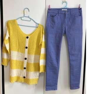 韓國香蕉黃白間色外套上衣(不連褲)