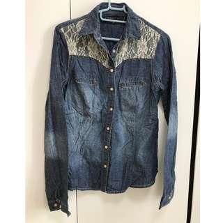 型格衫修洗水牛仔料lace 撞釘開胸上衣