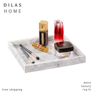 DILAS HOME | Natural Pure Real Marble Stone Square Tray