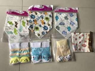 All for $8 Bundle of Brand New Baby Socks n Bibs