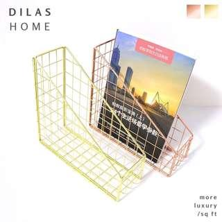 DILAS HOME | Wire Rose Gold Copper Desk Organiser A4 File Magazine Rack Holder Stand