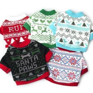 Christmas & Elf Design Casual Tees For Dogs & Cats