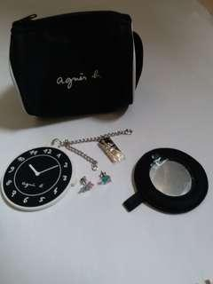 Agnes b Combo: Earrings, handbag charm and Cosmetic Bag with Mirror