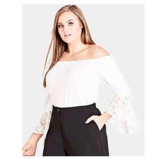 City Chic Lace Sleeved Top