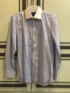 Renoma easy care checkered blue white dress formal shirt