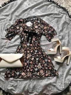 Ribbon Front Floral Mini Dress