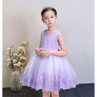 Sleeveless Purple Lace Princess Flower Girls Dress