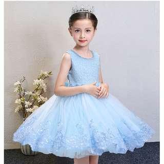 Sleeveless Blue Lace Princess Flower Girls Dress