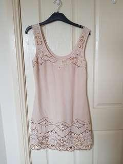 Silk slip dress with gold sequins size 8