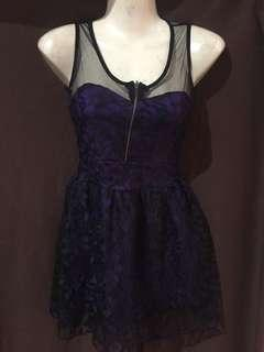 Laced violet zipper dress