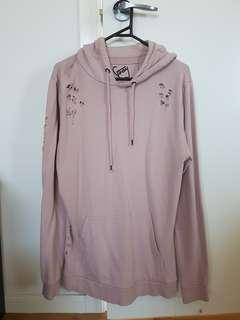 STRAY Pink Distressed Longline Oversized Hoodie