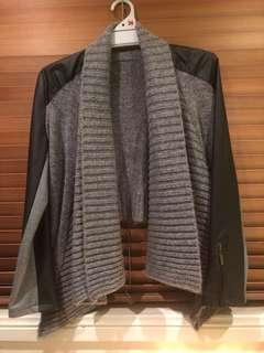 Grey and black leather cardigan
